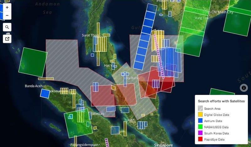 Illustration for article titled Todos los satélites que buscan el vuelo MH370, en una imagen