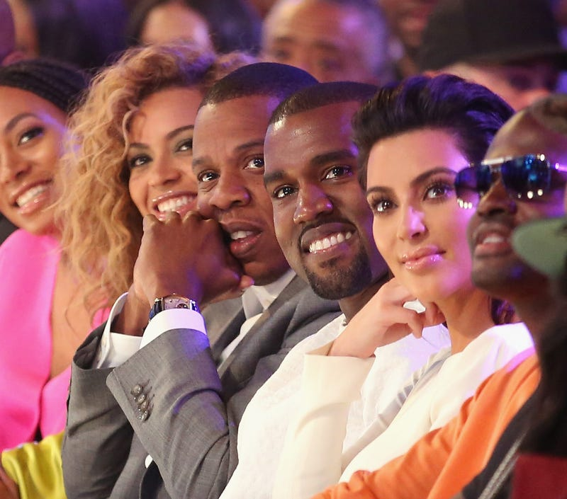 Beyoncé, Jay Z, Kanye West and Kim Kardashian at the 2012 BET Awards at the Shrine Auditorium on July 1, 2012, in Los AngelesChristopher Polk/Getty Images For BET