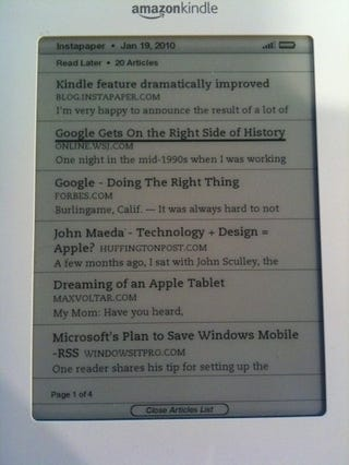 Instapaper for Kindle Updated, Makes Reading Long-Form Articles Easier