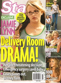 Illustration for article titled This Week In Tabloids: Jamie Lynn's Delivery Drama, Party Girl Moms, Jake Moves In With Reese