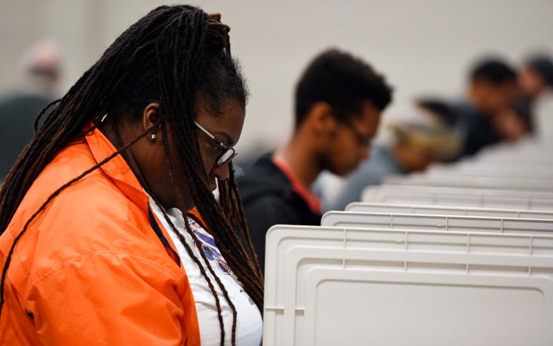 People cast their ballots ahead of the Tuesday, Nov. 6, general election at Jim Miller Park, Saturday, Oct. 27, 2018, in Marietta, Ga.