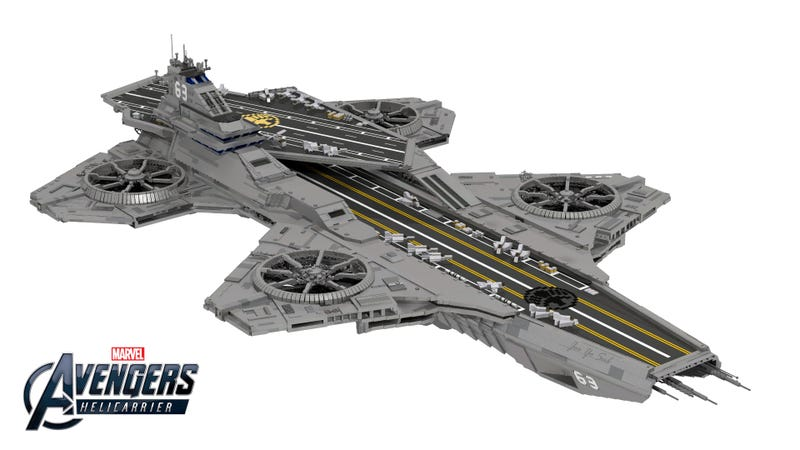 Illustration for article titled You Could Literally Kill Someone With This Lego SHIELD Helicarrier