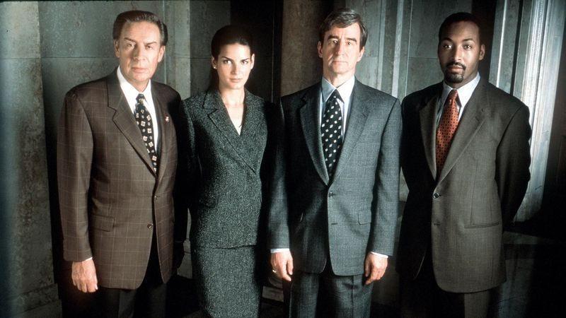 Jerry Orbach (left), Angie Harmon, Sam Waterston, Jesse L. Martin