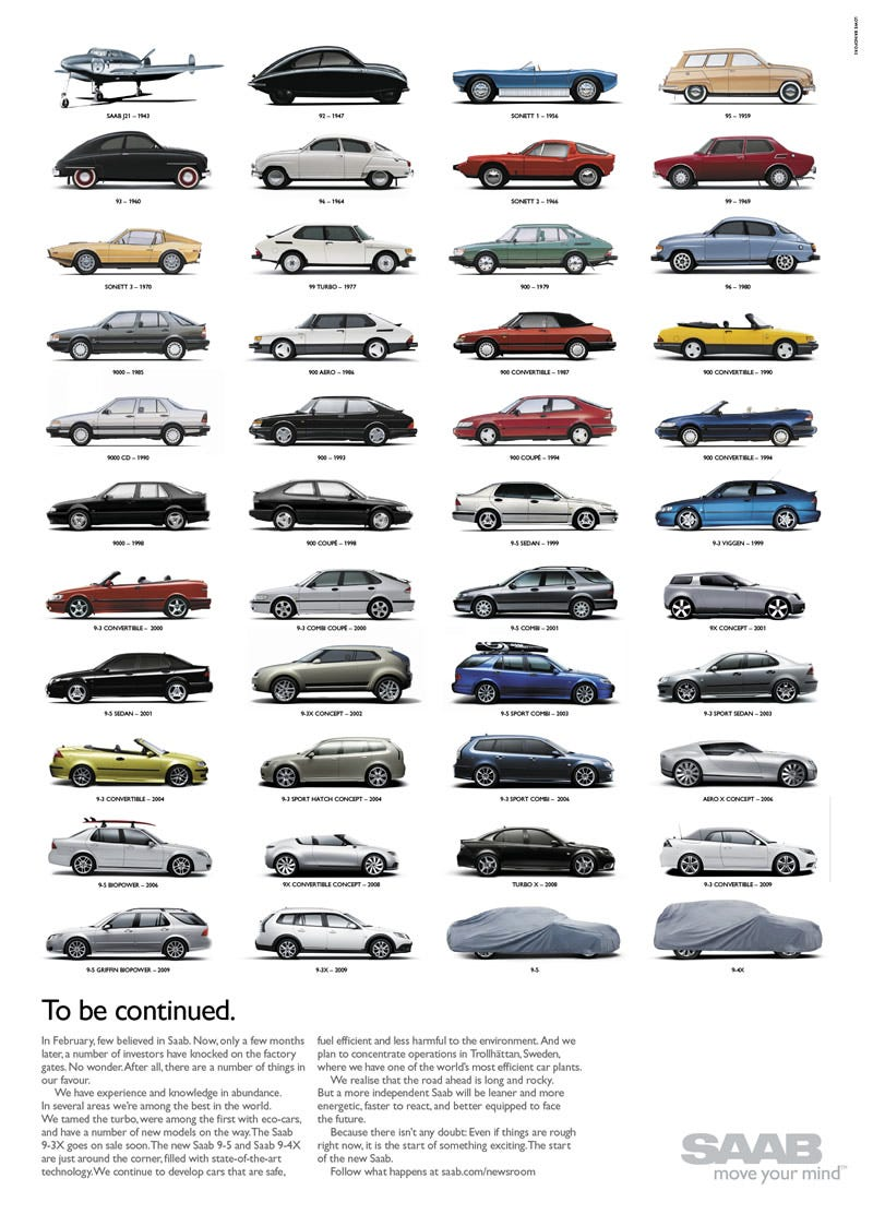 Illustration for article titled This Saab Print Ad Will Make You Happy And Sad