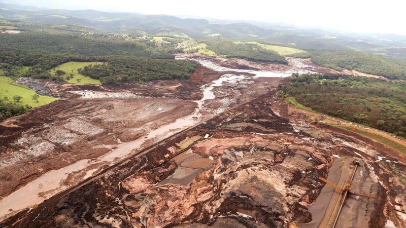 The aftermath of a dam collapse near Brumadinho, Brazil on Jan. 26, 2019.
