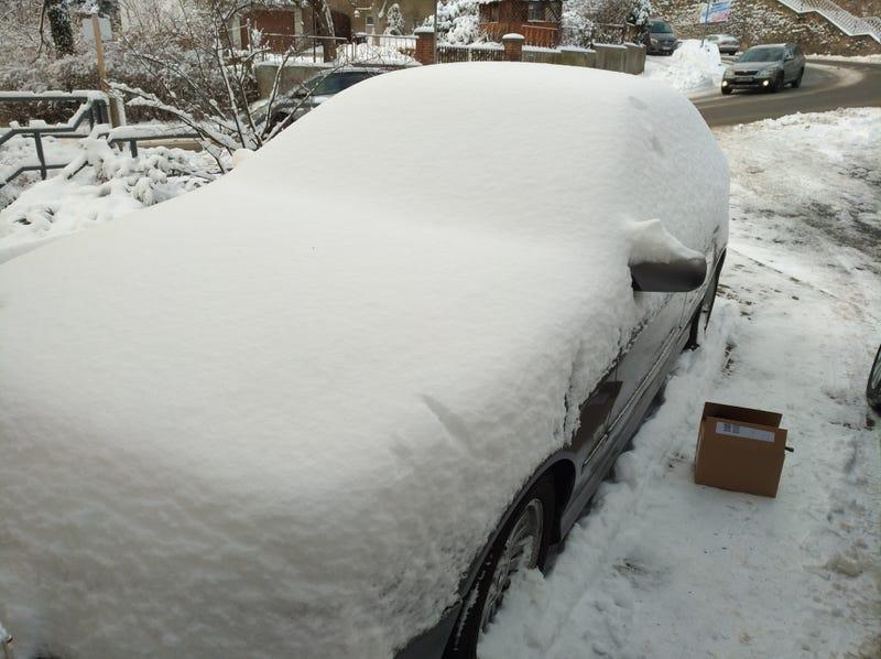 Illustration for article titled Half Car, Half Snow Sculpture