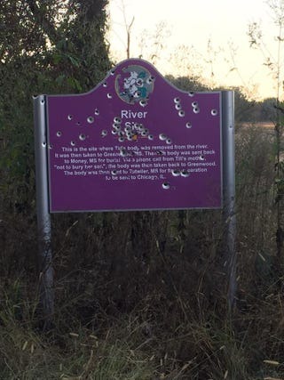Memorial sign marking where Emmett Till's body was found in 1955Facebook/Kevin Wilson Jr.
