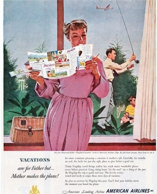 """Illustration for article titled """"Vacations Are For Father, But Mother Makes The Plans"""""""
