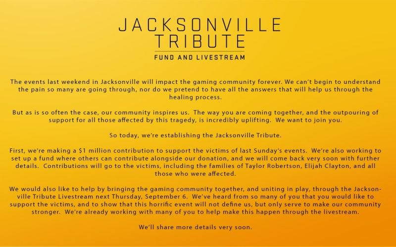 Illustration for article titled The Jacksonville Tribute Live Stream Information (Happening Tomorrow)