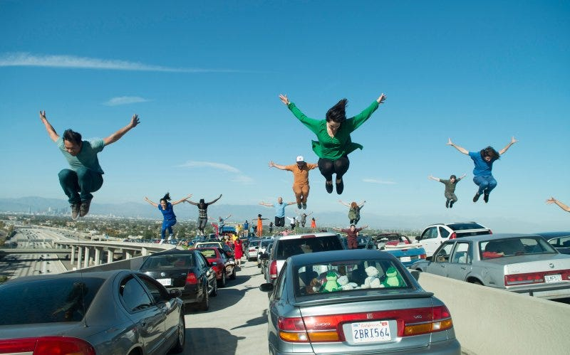 Traffic in LA is so bad motorists often break out into song in extremely overrated musicals. Photo credit Lions Gate