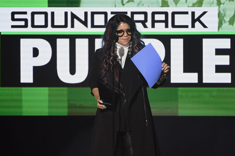Tyka Nelson accepts the Top Soundtrack award for Purple Rain on behalf of her brother, the late musician Prince, onstage during the 2016 American Music Awards in Los Angeles on Nov. 20, 2016.  Kevin Winter/Getty Images