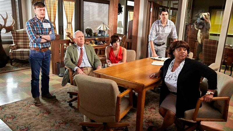 Steven Boyer (left), John Lithgow, Krysta Rodriguez, Nick D'Agosto, Sherri Shepherd (Photo: Tyler Golden/NBC)