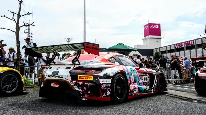 The Team Goodsmile Racing Hatsune Miku Mercedes AMG GT3, which is racing in the 10 hours of Suzuka t