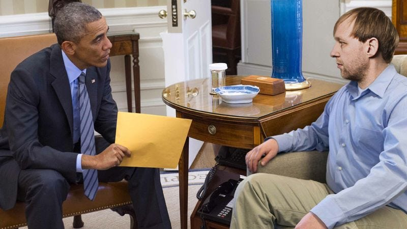 President Obama explains COBRA options to a departing American.