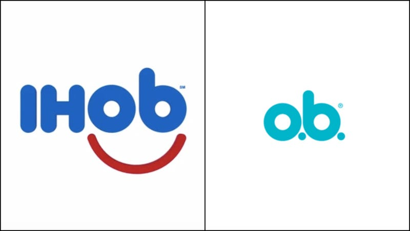 """Illustration for article titled IHOP's new""""IHOb"""" logo looks like a tampon brand"""