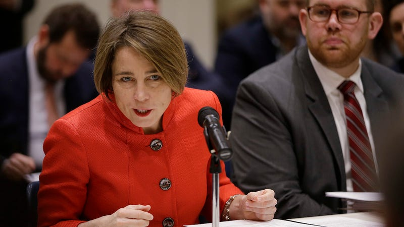Massachusetts Attorney General Maura Healey testifies before a legislative panel hearing at the Massachusetts Statehouse Tuesday, Feb. 6, 2018, in Boston.