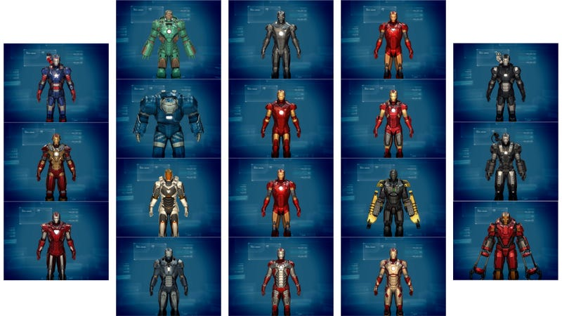Illustration for article titled There are 18 Armors in the Official Iron Man 3 Game. Can You Name Them?