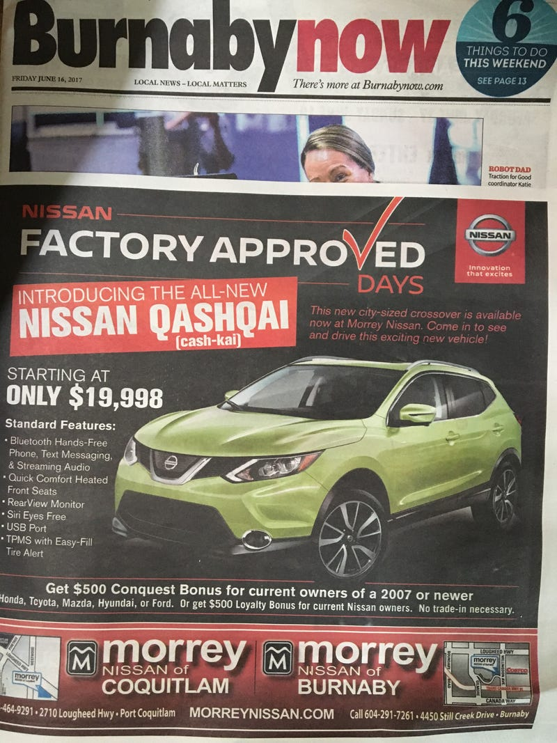 Illustration for article titled The Nissan Qshaqisai is coming to Canada?