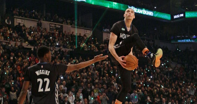 Zach LaVine Got Some Early Dunk Contest Practice In Against The…