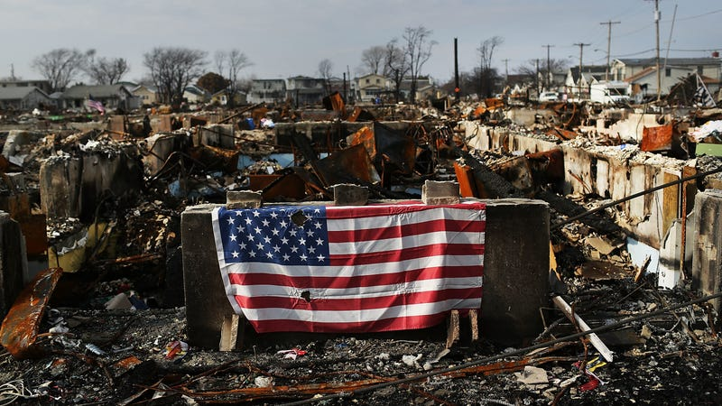 An American flag in the Breezy Point neighborhood in the wake of Hurricane Sandy.