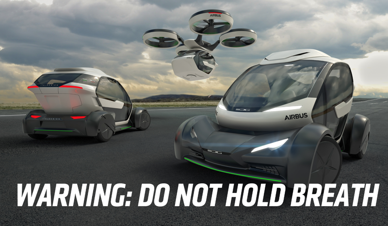 Illustration for article titled Airbus Has A Flying Car Concept That's Just Two Years Away From Never Happening