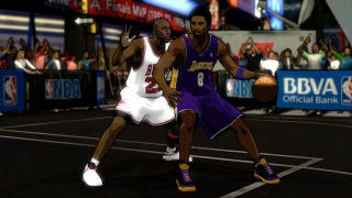 Illustration for article titled Cel-Shaded Kobe and Jordan Go One-on-One in These NBA 2K12 Legends Mode Screens