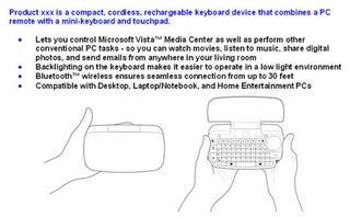 Illustration for article titled Unconfirmed: Logitech's Upcoming Mini Media Center Keyboard Revealed