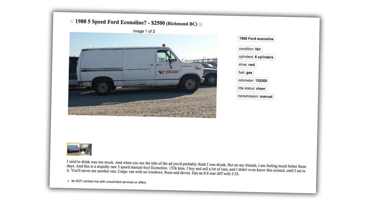 This Five-Speed Econoline Is Incredibly Rare But Good Luck Explaining Why  It's Cool To Normies