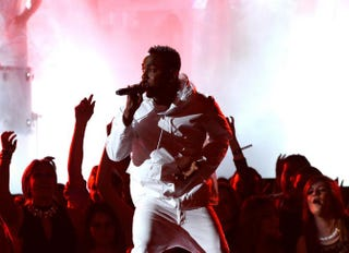 Kendrick Lamar performs onstage during the 56th Grammy Awards at Staples Center in Los Angeles, Jan. 26, 2014.Kevork Djansezian/Getty Images