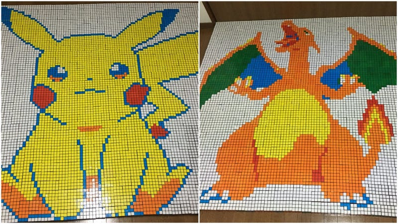Illustration for article titled Pokémon Art Made From Rubik's Cubes