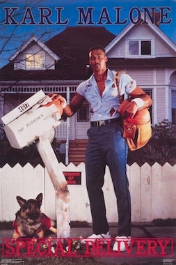 Illustration for article titled Karl Malone Has A Special Delivery: Sports Posters From The '80s Are Now Art