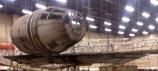 Illustration for article titled Leaked Star Wars Episode 7 photos show the Millennium Falcon's return