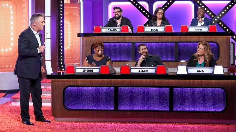Alec Baldwin addresses the celebrity panel on the second episode of ABC's Match Game revival (Photo: Heidi Gutman/ABC)