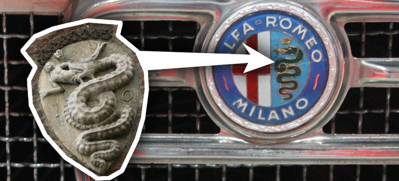 Illustration for article titled Is That Really A Snake Eating A Guy On The Alfa Logo?