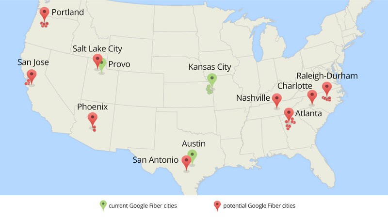Illustration for article titled Google Wants to Bring Fiber to 34 More US Cities