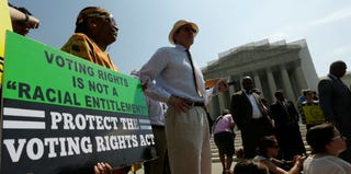 Supporters of the Voting Rights Act outside the Supreme Court before the decision (Win McNamee/Getty Images)