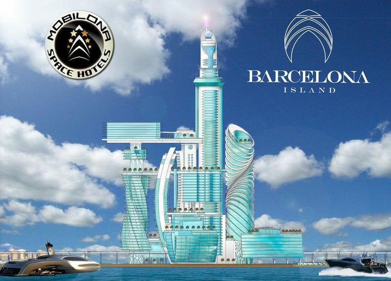 Illustration for article titled Barcelona rechaza la construcción de este hotel futurista en el puerto