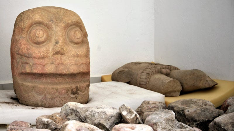 A stone skull found at the Ndachjian-Tehuacan archaeological site.