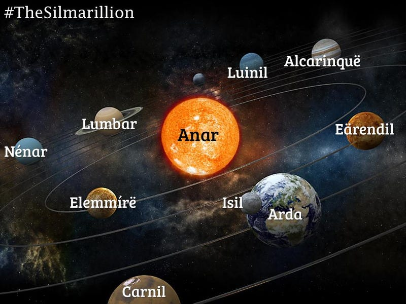 Illustration for article titled Astronomer recreates the solar system from Lord of the Rings lore