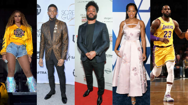 (L-R): Beyoncé performs during 2018 Coachella on April 14, 2018 in Indio, Ca.; Chadwick Boseman attends the AG Awards on January 27, 2019 in Los Angeles, Ca.; Ryan Coogler attends the AAFCA Awards on February 6, 2019 in Los Angeles, Ca.; Regina King attends the Oscars Nominees Luncheon on February 4, 2019 in Beverly Hills, Ca.; LeBron James plays the Brooklyn Nets on December 18, 2018 in New York City.