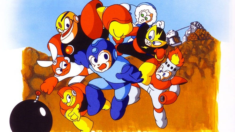 Promotional art from the original Japanese release of Mega Man (Art: Mega Man Knowledge Base)