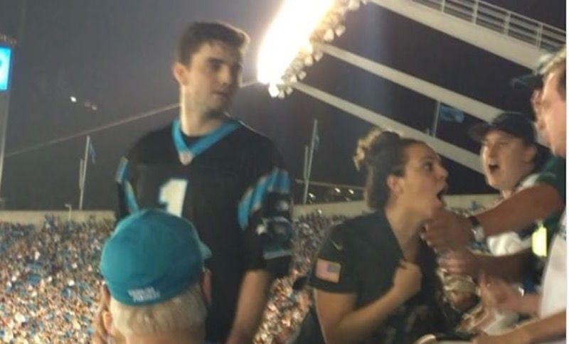 Carolina Panthers fan arrested, accused of punching spectator in video