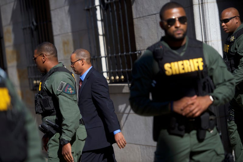 Baltimore Police Officer Caesar Goodson Jr. exits a Baltimore courthouse June 9, 2016, on the first day of his trial in the death of Freddie Gray. Mark Makela/Getty Images