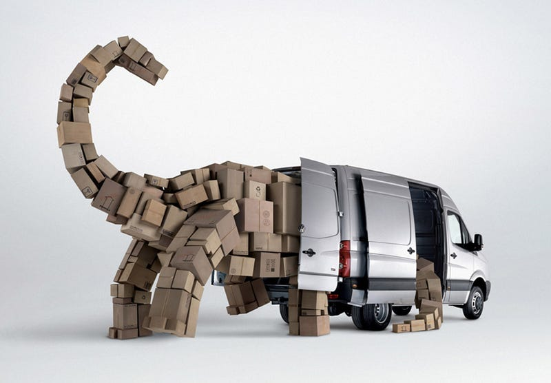 Illustration for article titled Volkswagen Cargo Vans Carry Prehistoric Loads