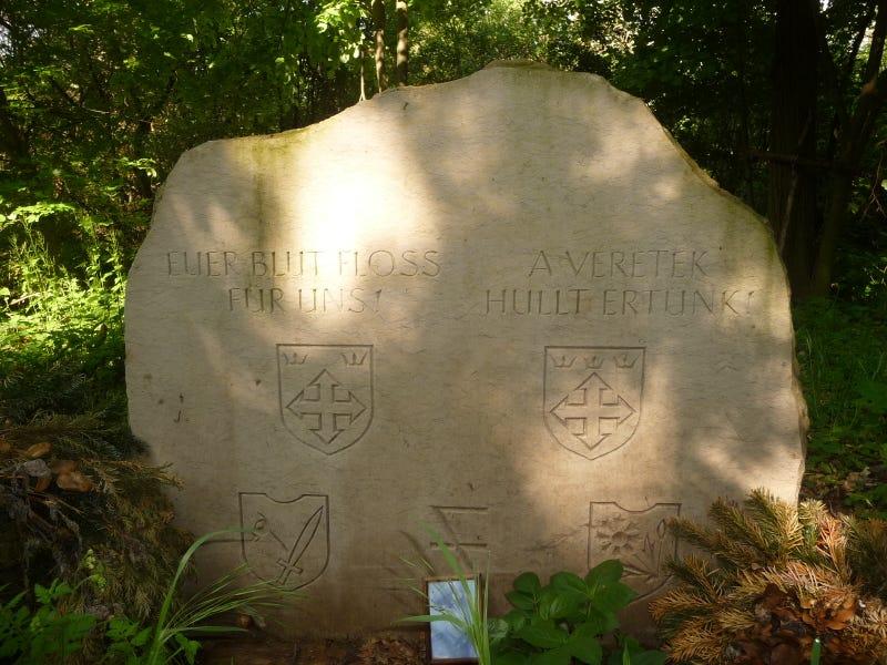 Illustration for article titled Titkos náci emlékmű van a Tök melletti erdőben?