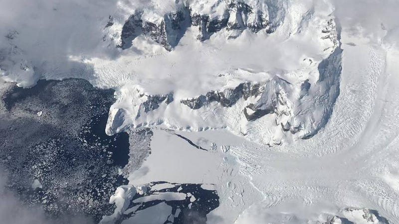 Sea ice forming off the edge of Nobile Glacier on the Antarctic Peninsula during Operation IceBridge's first flight of the 2017 Antarctic campaign, on Oct, 29, 2017. Photo: NASA/Nathan Kurtz