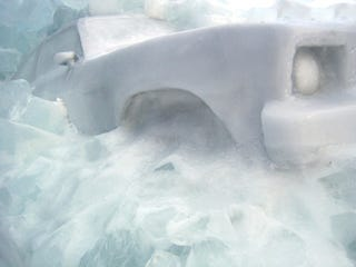 Illustration for article titled Chevy Nova Completely Frozen, Art Flourishes In The Upper Peninsula