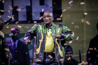 South African and African National Congress President Jacob Zuma addresses supporters during a rally celebrating ANC's election victory on May 10, 2014, in Johannesburg.GIANLUIGI GUERCIA/AFP/Getty Images