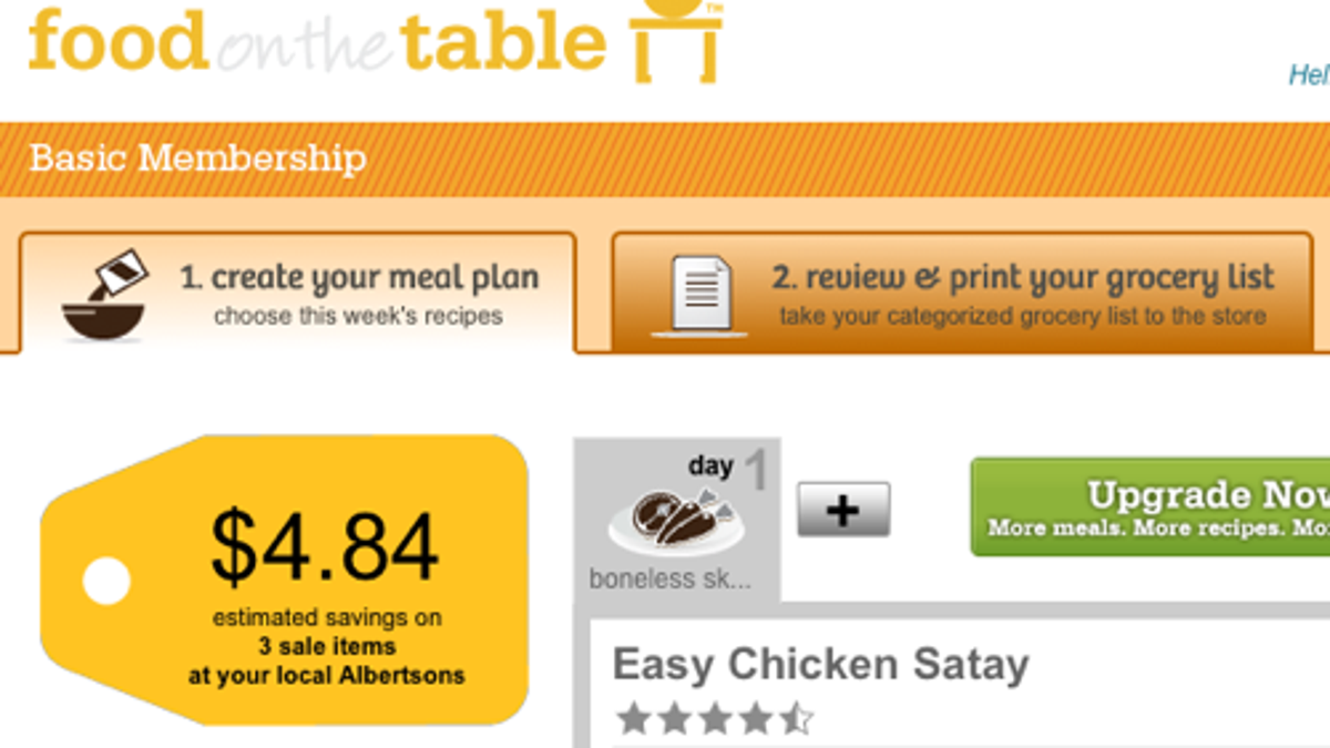 food on the table builds menus and grocery lists based on your