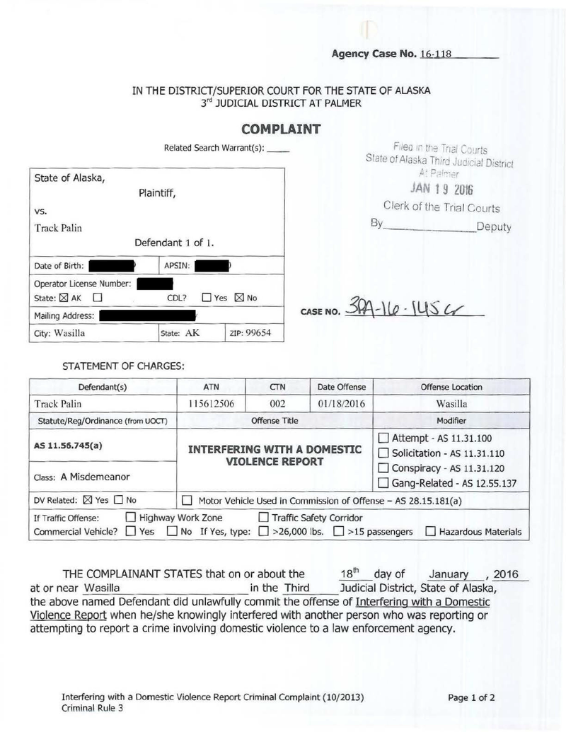 Here Is Track Palin's Domestic Violence Police Report